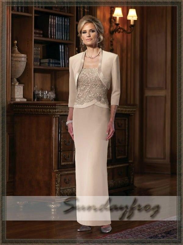 f864d2e91b80 Free Shipping Custom Made Floor-Length Evening Dress Chiffon Sheath Bolero  Jacket Mother of Bride Wedding Party Dress -JM1