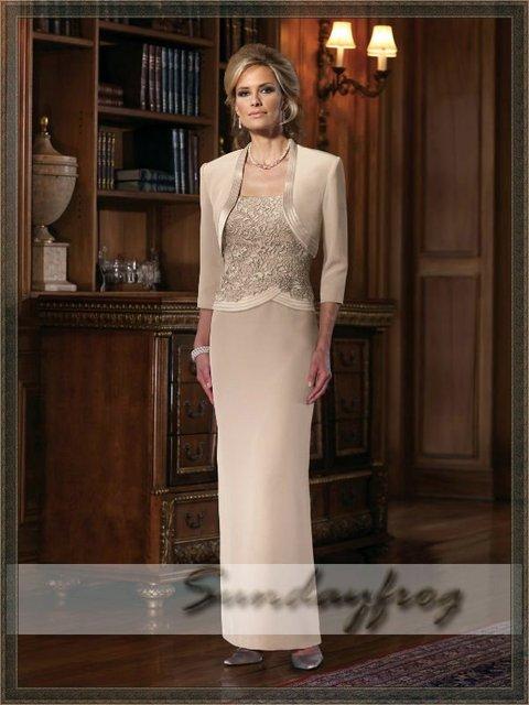 Free Shipping Custom Made Floor-Length Evening Dress Chiffon Sheath Bolero Jacket Mother of Bride Wedding Party Dress -JM1
