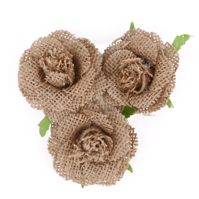 5.5cm Handmade Jute Hessian Burlap Flowers Rose Shabby Chic Wedding ...
