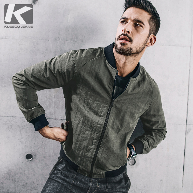 KUEGOU New Autumn Mens Jackets And Coats Patchwork Green Color Brand Clothing Man's Slim Pockets Clothes Male Wear Tops 72309