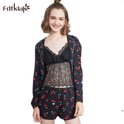 Fdfklak 3 шт. Sexy кружева выдалбливают пижамный комплект летние шорты пижамы Для женщин Пижамные комплекты Повседневное пижамы Pijama ночное