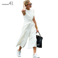 AEL White Ankle Length Pants Empire Waist Asymmetrical Vest Conjoined Pants 2017 Casual Fashion Women Clothing Elegant Slim