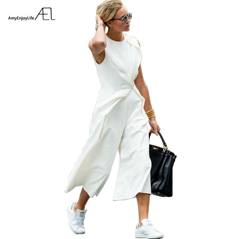 AEL blanco tobillo-longitud pantalones imperio cintura asimétrica chaleco conjunto pantalones 2017 Casual moda mujer ropa elegante Delgado