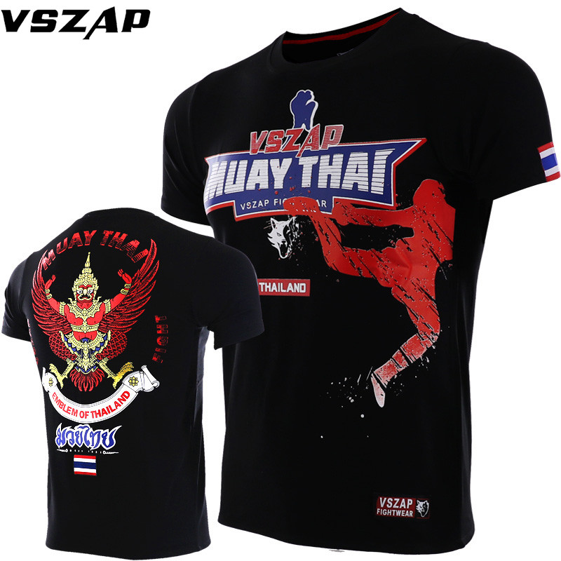 VSZAP Fighting Thailand Cotton MMA Fight Short Sleeved T-shirt Japan Leisure Fitness Brand Sports Training Muay Thai Boxing