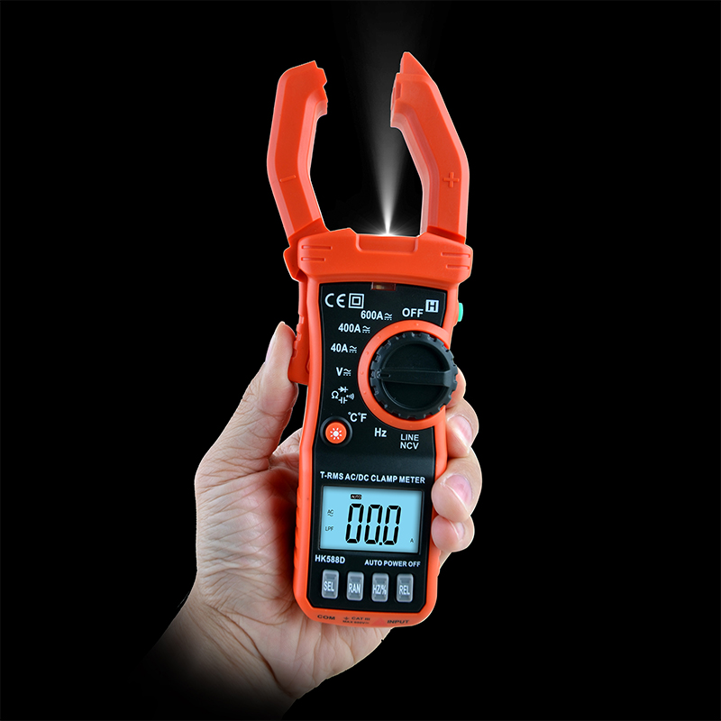 New Sale 4000 RMS Digital AC DC HK588D clamp multimeter diode Manual automatic range temperature meter