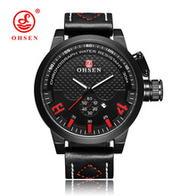 цена на NEW Fashion OHSEN Male Business Quartz Movement Watch Men Waterproof Red Dial Casual Wristwatch Leather Band Men Watch Relogios