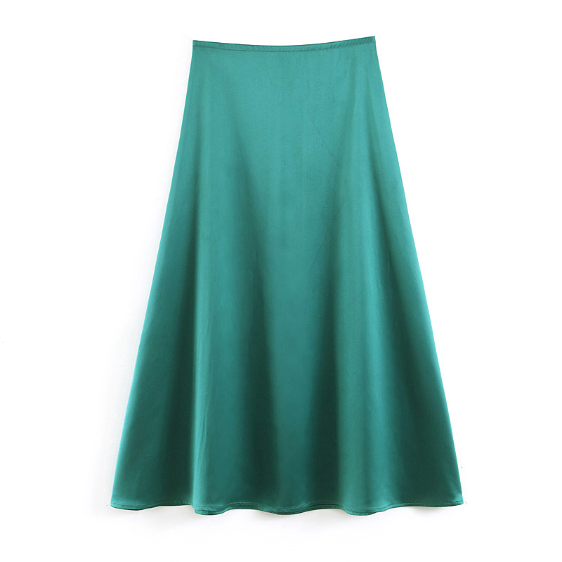 2019 New Satin Skirts Women Fashion Summer Skirt Office Lady Style Style Green Color Midi Skirt Holiday Beach Wear Clothes