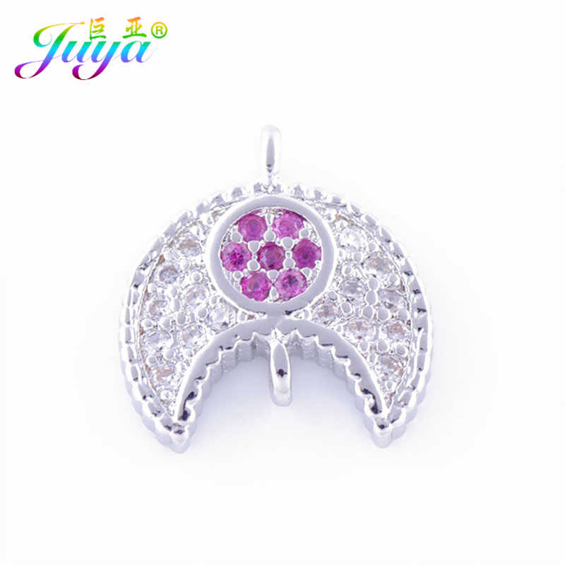 Hallazgos de joyería hechos a mano oro/plata/oro rosa media luna conectores accesorios para mujeres joyería de moda fabricación DIY