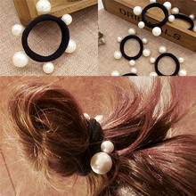 3Pcs Elastic Bands Girl Rope Gum Rubber Band tie bun holder Women Hair Accessories imitation pearl black