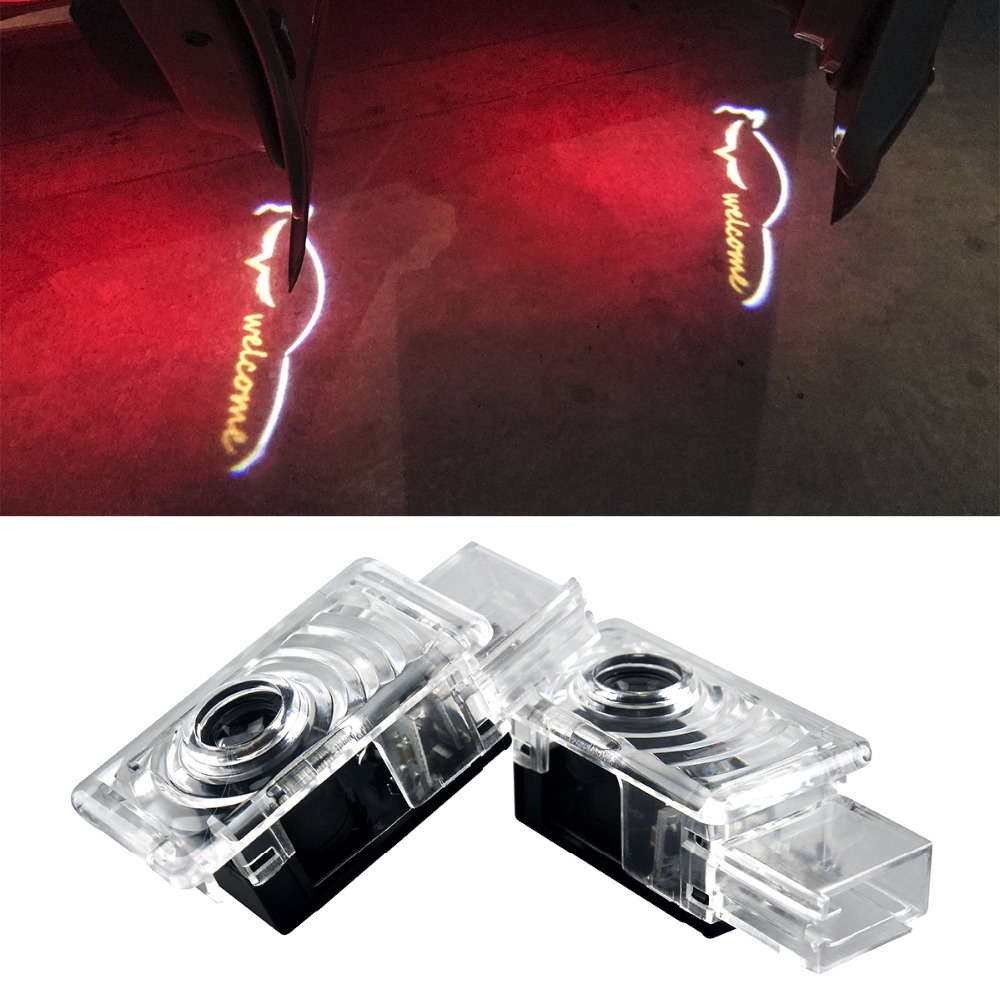 2Pcs For Cadillac SRX ATS CTS XTS XT5No Drill LED Car Door Welcome Light Laser Projector Ghost Shadow Logo Light car door step courtesy welcome light projector laser logo light ghost shadow puddle emblem spotlight drop ship for cadillac