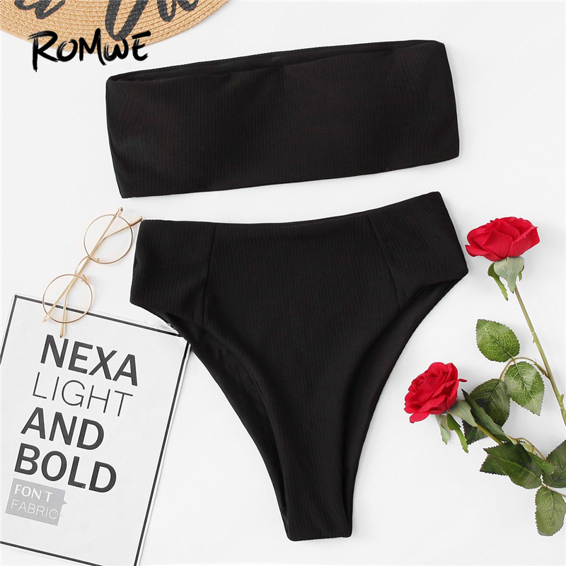 7d1b96c3be5bd Romwe Sport Black Ribbed Bandeau With High Leg Bikini Set Women 2019 Summer  Yellow Sexy Beach Pool Wireless White Swimwear