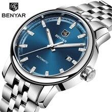 BENYAR Reloj de cuero de marca de lujo para hombre, de pulsera automático relojo, mecánico de acero, Masculino, 2019