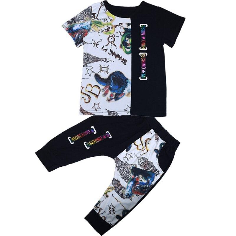 Детская одежда 2018 мода мультфильм с коротким рукавом футболка комплект со штанами для мальчиков Милый костюм для мальчиков-подростков детс...