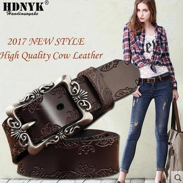 New Arrival Fashion Women Cow Leather Belts Wide Vintage Floral Carved Cowskin Belts For Women Belts Cummerbunds Ceinture Femme