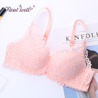 Realwill Rendas Copo ABC Wirefree Bra Tops Mulheres Push Up Sexy Flor Rosa Preto Cinza