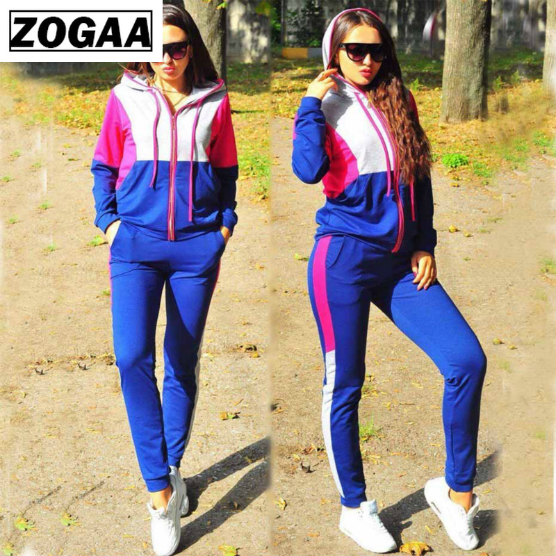 2 Piece Outfits For Women Long Sleeve Tops And Pants Pillover Sport Clothing For Jogger  Casual Stand Collar Matching Set Zogaa