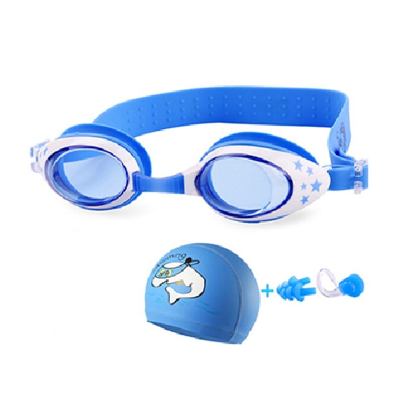 New Children Swimming goggles Anti-Fog kids dolphin swim cap set eyewear cartoon Crab water goggles arena Swimming glasses(China)