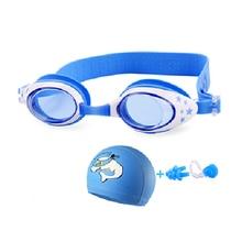 New Children Swimming goggles Anti-Fog kids dolphin swim cap set eyewear cartoon Crab water arena glasses
