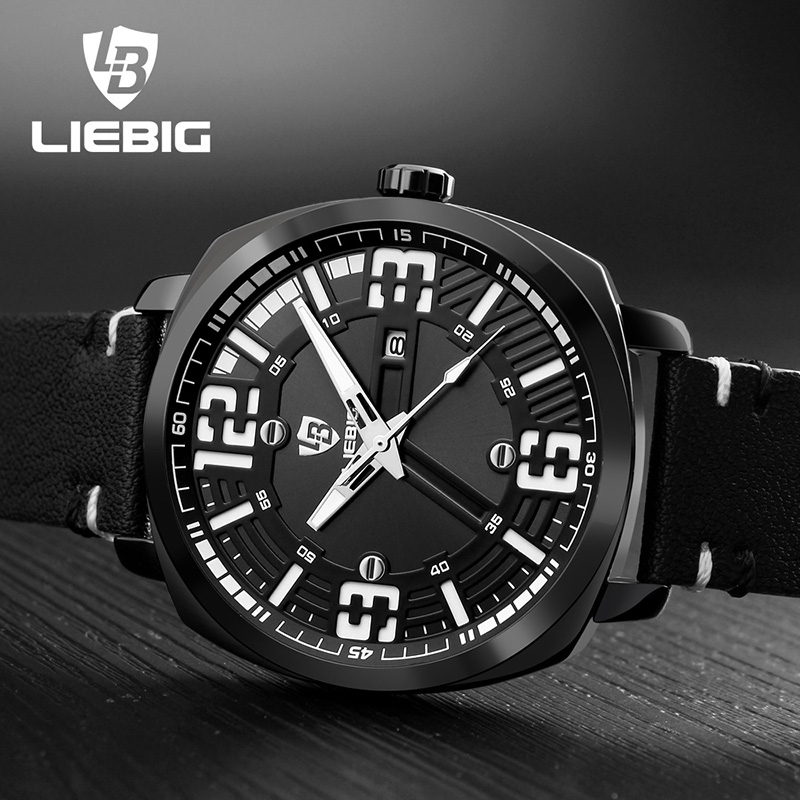 LIEBIG Luxury Brand Men Sports Watches 30M Water Resistant Pu Strap Luminous Hands Quartz Wristwatches Relogio