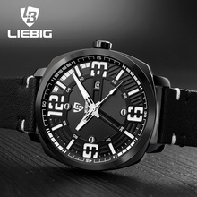 LIEBIG Luxury Brand Men Sports Watches 30M Water Resistant Pu Strap Luminous Hands Quartz Wristwatches Relogio Masculino S201
