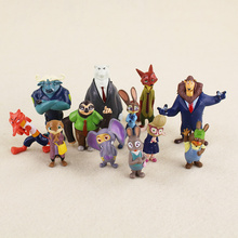 12pcs/lot Cosplay Movie Zootopia Nick Fox Wilde Judy Hopps PVC Action Figure Animals Doll Toys For Kids Gifts