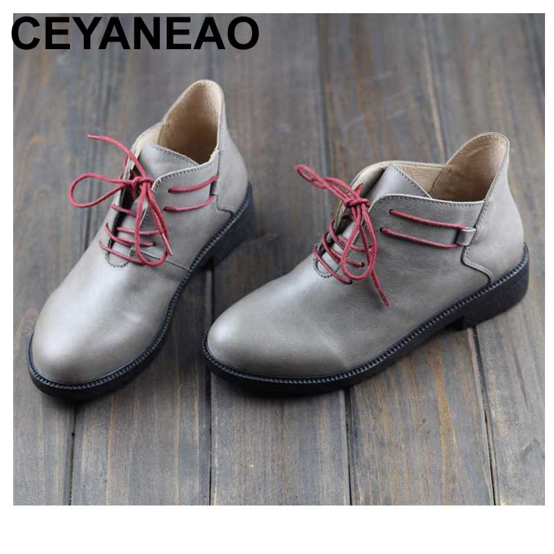 CEYANEAO Women's Boots Genuine Leather Ankle Boots Round Toe Lace up Woman Shoes Female Spring Autumn Footwear (108) 2017 xiangban women ankle boots handmade genuine leather woman short boots spring autumn round toe female footwear
