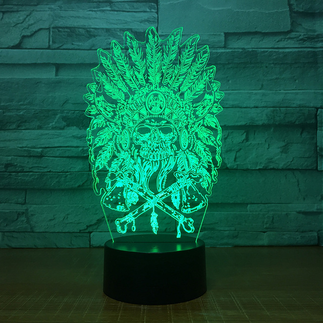 7 COLORS CHANGE 3D INDIAN CHIEF SKULL LED LAMP