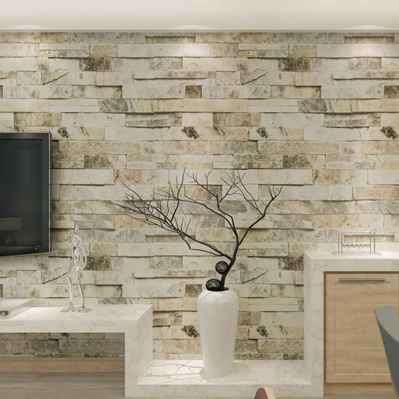 PVC Vinyl Modern Faux Brick Stone 3D Wallpaper Living Room Bedroom Bathroom Background Wall Decoration Murals 0.53m*10m/rollPVC Vinyl Modern Faux Brick Stone 3D Wallpaper Living Room Bedroom Bathroom Background Wall Decoration Murals 0.53m*10m/roll