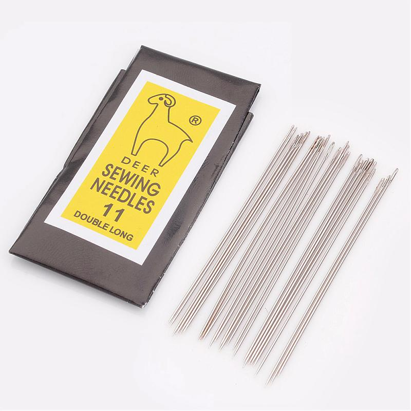10Bags Iron Beading Needles For Jewelry Making Darning Needles Platinum Color,  0.45mm Thick, 48mm Long, Hole: 0.3mm, 25pcs/bag