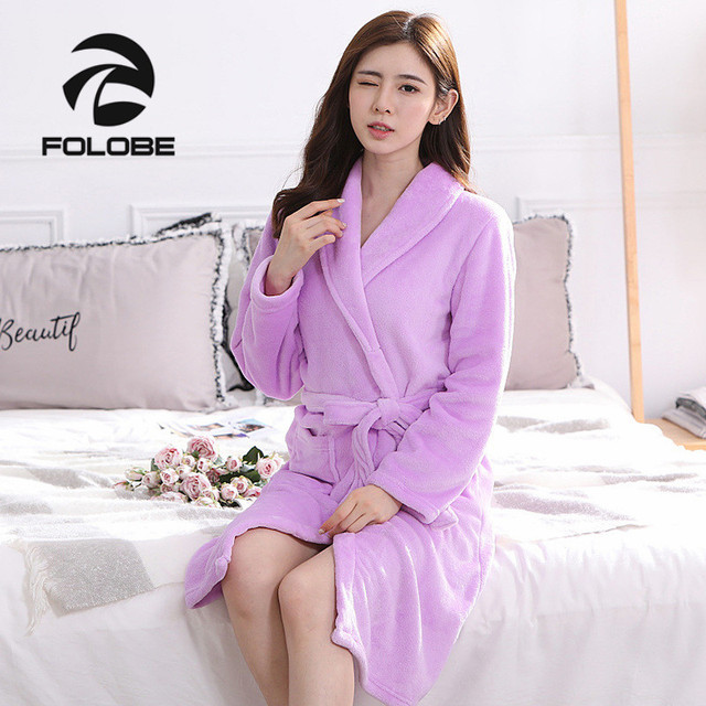 eb7ebec70b FOLOBE Light Purple Autumn Winter Bathrobes for Women Lady s Long Sleeve  Flannel Robe Female Sleepwear Lounges Homewear Pyjamas