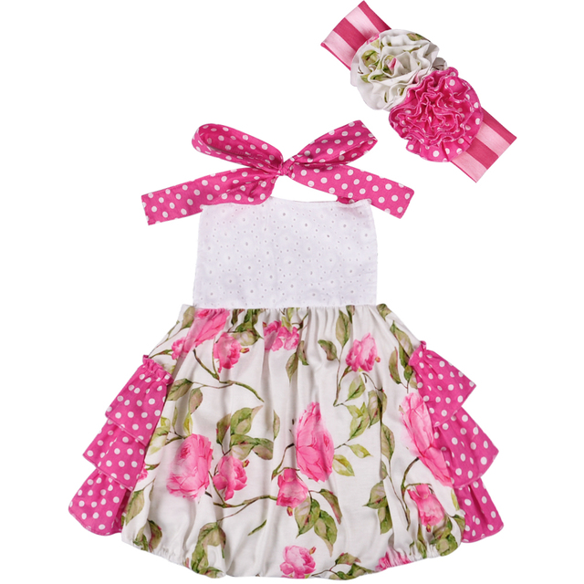 Pink Super Cute Wholesale Summer Infant Baby Lace-up Sleeveless Baby Girls Clothes Ruffle Romper With Headband GPF803-081