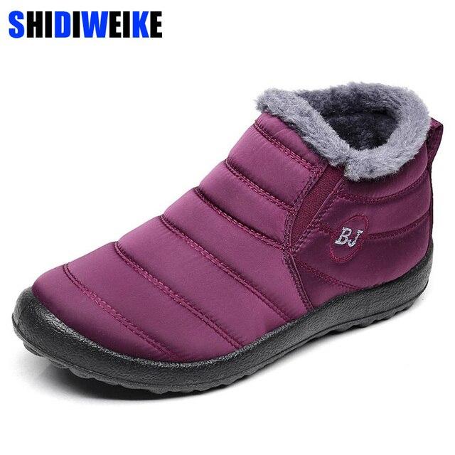 2019 Novas Mulheres da Neve do Inverno Sapatos Botas de Neve Quente de Pelúcia Fundo Antiderrapante Térmicas Botas De Esqui das mulheres À Prova D' Água Tamanho 35- 43 n184