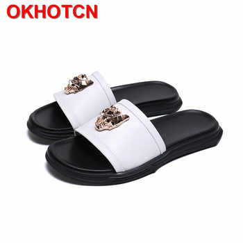 Genuine Leather Slippers Men White Non-Slip Summer Shoes Fashion Metal Decoration Zapatos De Hombre Big Size Thick Heel Slides - DISCOUNT ITEM  40% OFF All Category