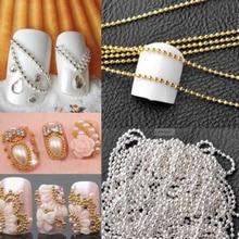 100 cm, cadena de Arte para uñas de metal, cuentas doradas y plateadas, Micro líneas de uñas acrílicas, consejos de decoración DIY, Bola de rayas brillantes