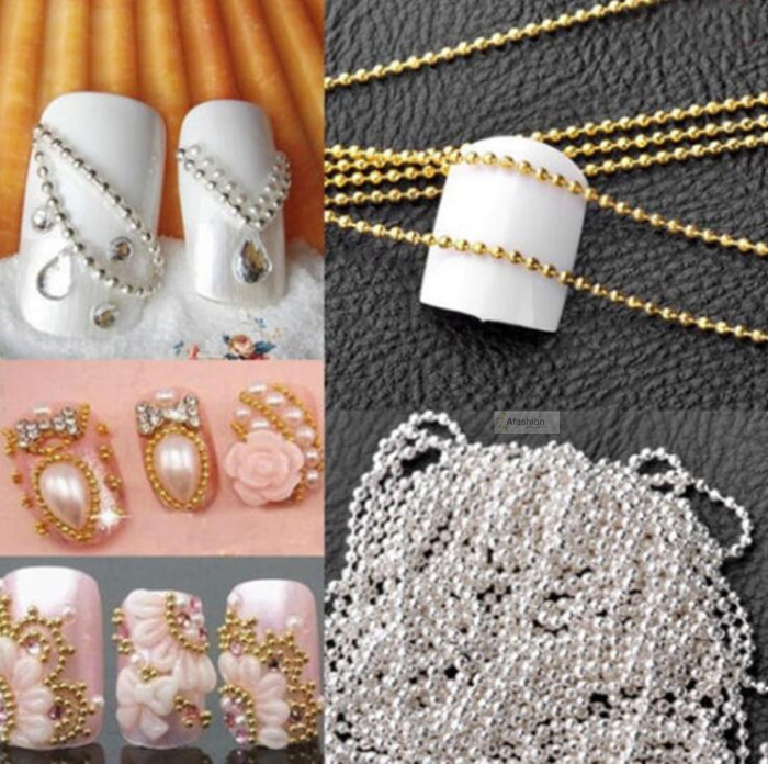 100cm Nail Art Metal Chain Gold Silver Bead Micro Nail Line Acrylic Tips DIY Decoration Glitter Striping Ball