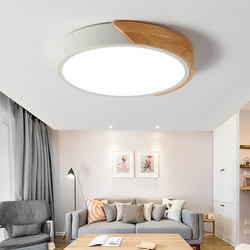 Round Wooden LED Ceiling Lights With Remote Control Macaron color Ceiling Lamp For Living Room Dining Kitchen Lighting Fixtures