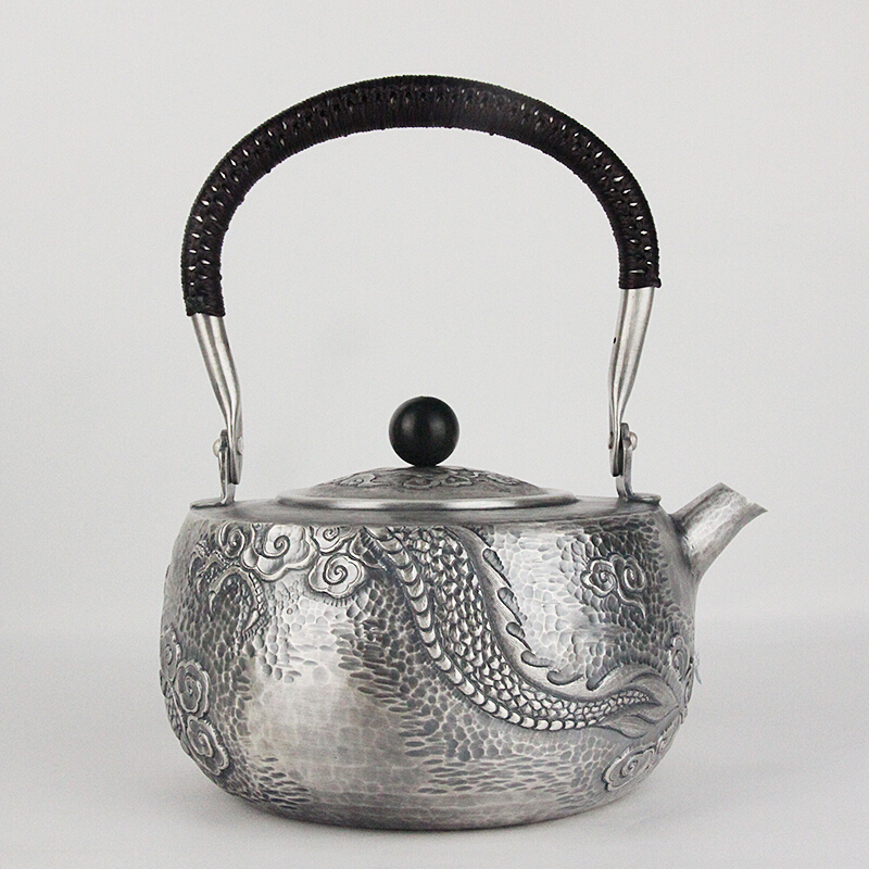 Pure Silver Kung Fu Tea Set, Manual Production Pure Silver 999 Do Old Burn Water Kettle Mention Beam Pot, Office Gift Collection
