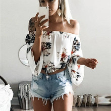 Summer Chiffon Blouse 2017 Fashion Floral Print Women Blouses Boho Off Shoulder Tops Long Sleeve White Cool Blouse Shirt Blusas