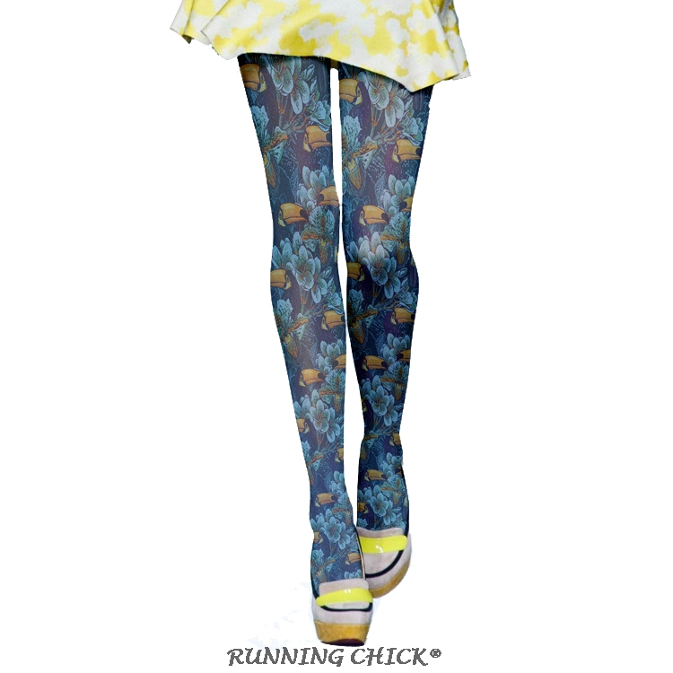 Blue Flowers And Birds Oil Printing Pantyhose