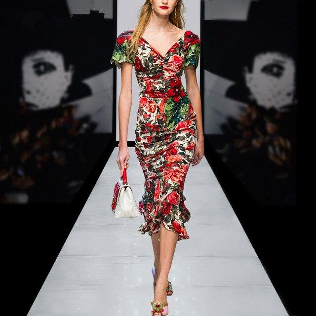 9515c56274 Runway Dresses 2017 Spring Summer Elegant Vintage V-neck Short Sleeve Flower  Printed Ruffles Mermaid Dress Slim Party Dress