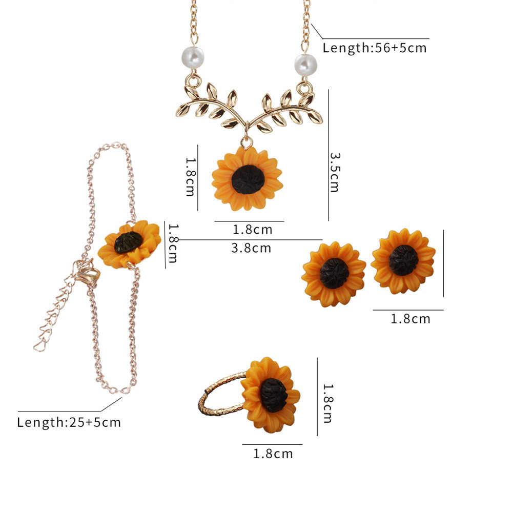 3/5Pcs Lady Sunflower Leaf Faux Pearl Charm Necklace Earrings Bracelet Ring Set wonderful