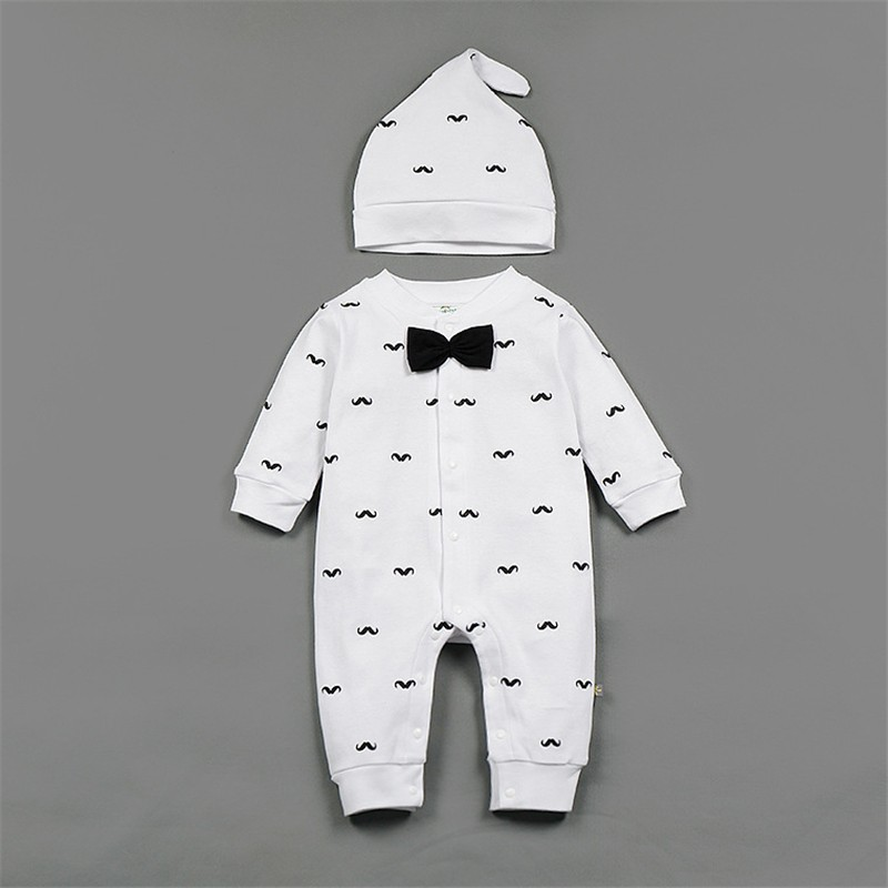 17 Spring New Baby Boy Clothes Beard Print Fashion Romper+Cap 2pcs/set Newborn Toddler Baby Clothing Set Bebes Outfits 0-2T 6