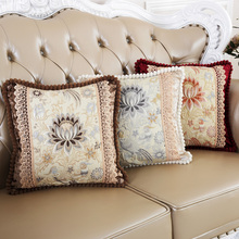 2017New Luxurious Cushion Cover American style Retro flower Home Decorate Pillow Cover Sequin embroidery Pillow Case Office Sofa