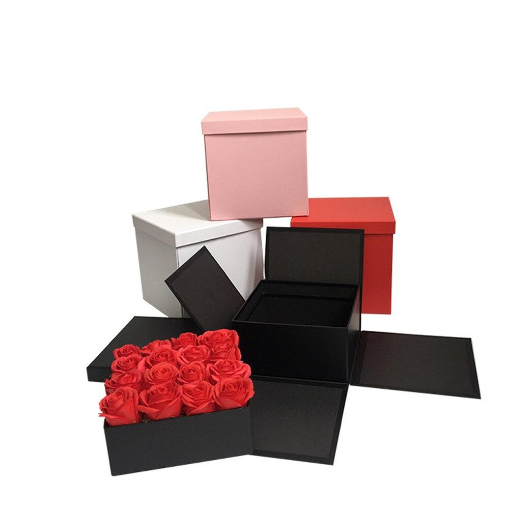 2019 nouveau design boîte carrée intérieure ont deux étages emballage cadeau et boîtes à fleurs, boîte de cadeau de mariage/fête d'anniversaire, acheter 2 pièces 10% de réduction