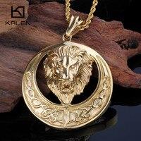 Kalen Gold Color Men S Lion Necklace Stainless Steel Animal Lion Head Pendant Necklace Male Rock