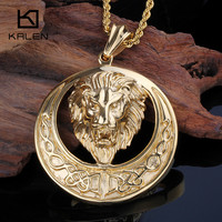 Kalen Gold Color Men's Lion Necklace Stainless Steel Animal Lion Head Pendant Necklace Male Rock Necklace Jewelry Accessories