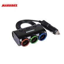 Marubox M11 Разветвитель пригуривателя в автомобиль 3 гнезда с 2USB 3.1A пригуривателя мощность 120 Ватт Длина кабеля 1 метр Отдельные кнопки вкл/выкл каждого прикуривателя качественный провод и пластик