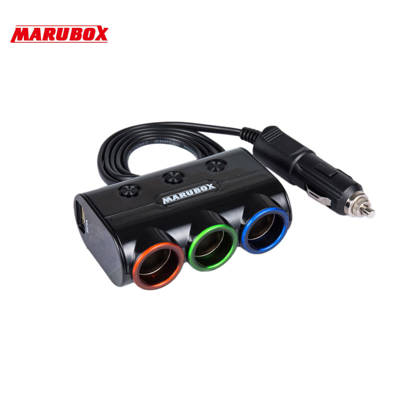 MARUBOX M11 120W 3 Ways Auto Socket Splitter Car Cigarette Lighter Socket Splitter 12V/24V DC Dual USB Port Car Charger kroak 12 24v dual usb port car cigarette lighter power socket splitter charger adapter plug
