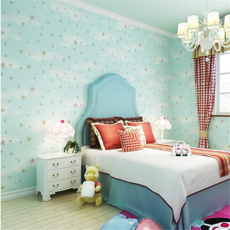beibehang Papel de parede children's room cartoon anime non-woven boys and girls warm romantic bedroom wallpaper blue stars non woven luminous wallpaper roll stars and the moon boys and girls children s room bedroom ceiling fluorescent home wallpaper
