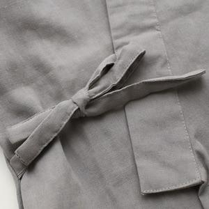 Image 5 - Gli uomini di Cotone Kimono Degli Indumenti Da Notte Set Nuovo di Stile 2Pcs Abito e Pantaloni di Usura A Casa Lungo Allentato Pigiama Tuta Solido degli indumenti da letto Con Tasca